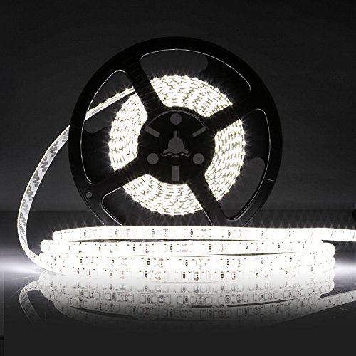 LEDMO Striscia LED Striscia LED bianco 6000K SMD2835 600led IP65 impermeabile 5 metri DC12V 15LMLED di altezza CRI80 striscia di led kit completo con striscia e alimentazione 12V 5A incluso 0 5 - Striscia LED, 5 metri strisce led bianco led strip SMD2835-600led IP65 impermeabile 6000lm led striscia incluso kit completo striscia alimentazione 12V 5A