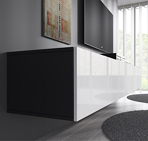 Lettiemobili Mobile TV modello Forli XL 160 cm Nero Bianco 0 0 - muebles bonitos Mobile TV sospeso Design Forli XL Nero Bianco - Larghezza: 160cm x Altezza: 30cm x profondità: 40 cm, Anta a ribalta Orizzontale Lucida Porta TV