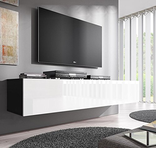 Lettiemobili Mobile TV modello Forli XL 160 cm Nero Bianco 0 - muebles bonitos Mobile TV sospeso Design Forli XL Nero Bianco - Larghezza: 160cm x Altezza: 30cm x profondità: 40 cm, Anta a ribalta Orizzontale Lucida Porta TV