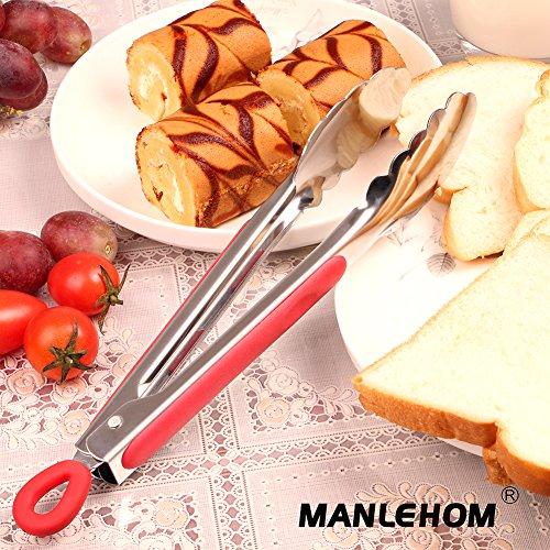 MANLEHOM Pinze Cucina, Utensili Acciaio Inox per Alimentari Grigliare Carne Barbecue e Servire 23cm e 30cm Nero