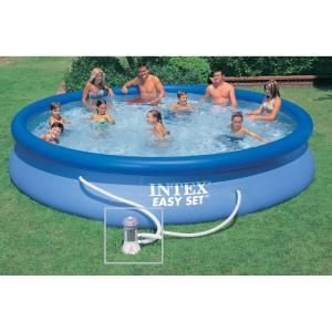 Intex 28158 Set Piscina Portante Easy Tonda con Pompa, Blu, 457 cm