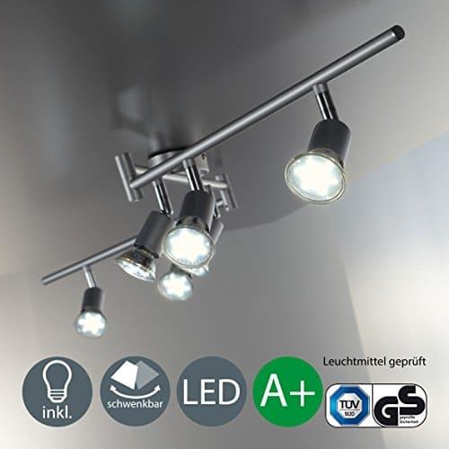 Faretti LED da soffitto orientabili, include 6 lampadine GU10 da 3W, luce calda 3000K, plafoniera moderna a bracci da soffitto per l'illuminazione da interno, metallo color titanio, 230V, IP20