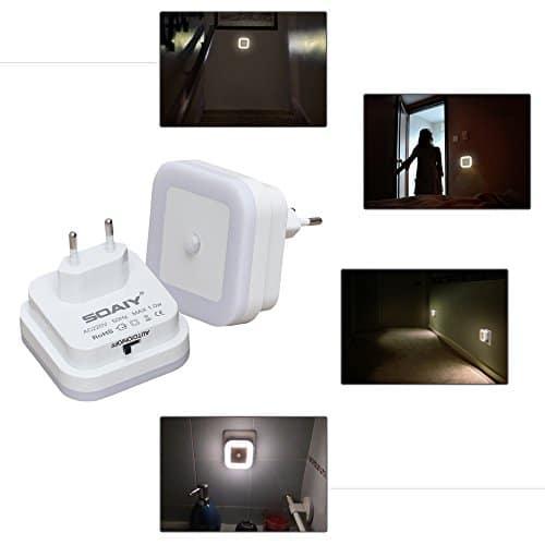 SOAIY 2 Pezzi Luce notturna led Luce Sensore di Movimento Luce da presa 3 Modalità ON/OFF/AUTO per bambini camera, bagno, soggiorno, corridoio, ecc (Luce Calda)